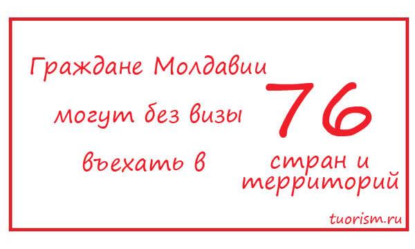 Молдова, безвизовые страны, количество