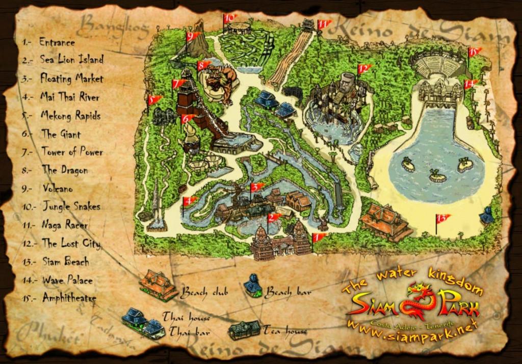 Карта Сиам парка Тенерифе