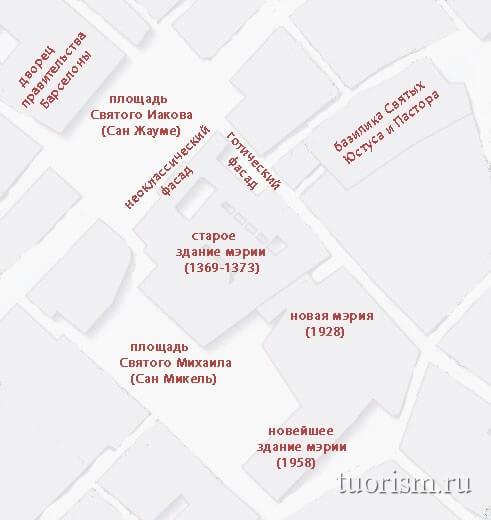 Где находится мэрия Барселоны, карта