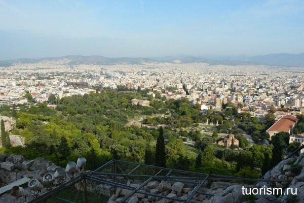 Греческая агора с Акрополя, афинская агора, вид сверху, Афины, Греция