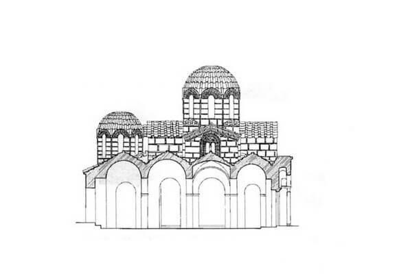 Церковь Богородицы Капникарея, схема портика