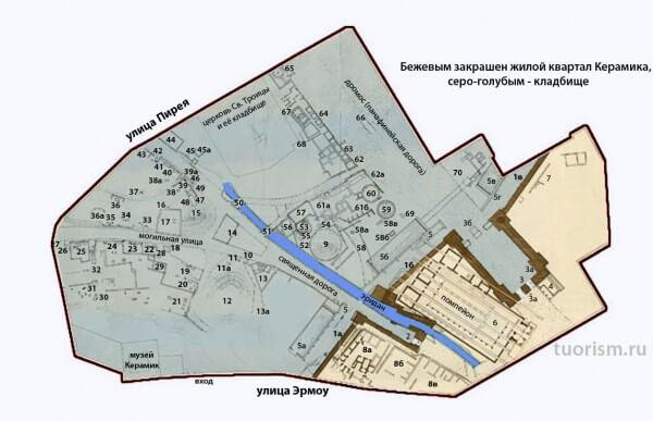 Карта квартала Керамейкос и кладбища Керамик