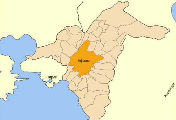 Афины и пригороды - карта