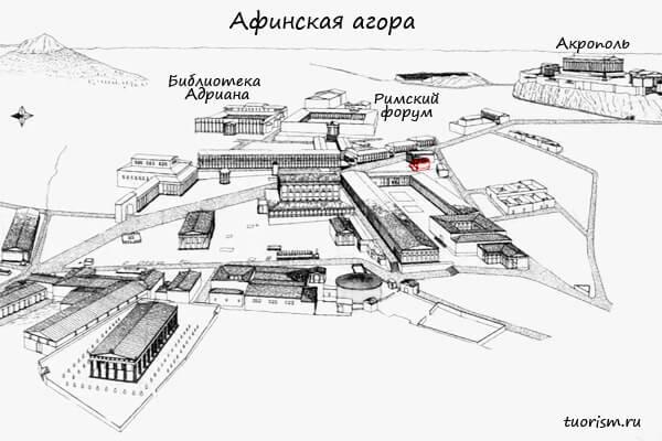 нимфей, агора, план