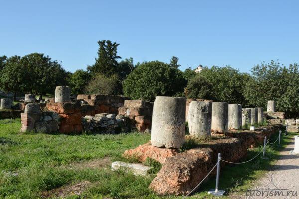 основания, колонны, фундамент, красный камень, Греция, руины, раскопки, агора, афинская агора, Афины, что посмотреть