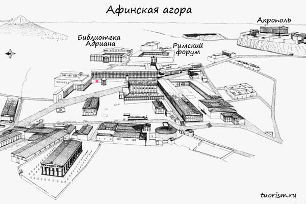 агора, план, суд, квадратный перистиль