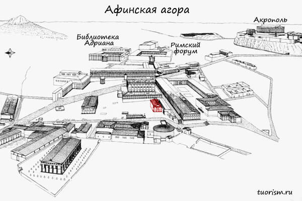 Юго-западный храм, агора, план