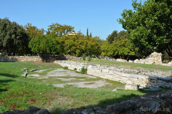 зрительный зал, театр, греческий театр, одеон, с крышей, руины, Греция, Афины, греческая агора