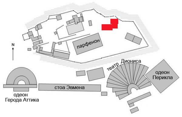 Карта Святилища Зевса Полиея на Акрополе, Афины