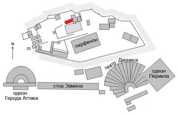 Пандросейон на карте Акрополя