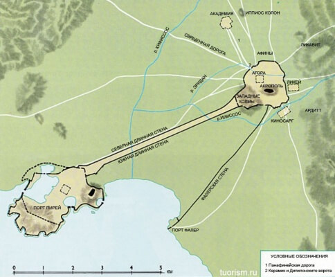 Карта древних Афин