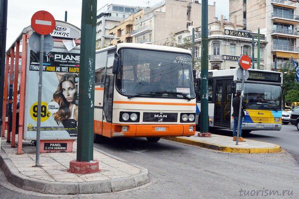 Автобус ktel, Афины, остановка, автобус, Греция, бело-оранжевый, белый с оранжевым, как добраться