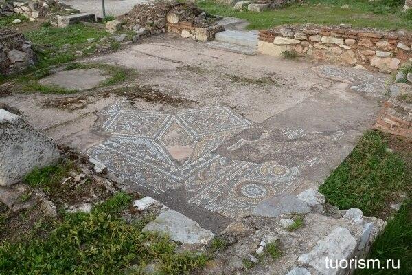 Римская напольная мозаика, мозаика, церковь, библиотека Адриана, Афины, Hadrian's Library, mosaic, greek mosaik, church