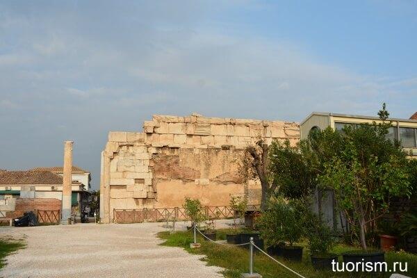 пропилеи, библиотека Адриана, Афины, восход солнца