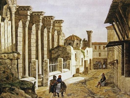 церковь святого асомата, афины, старый рисунок, история, Греция