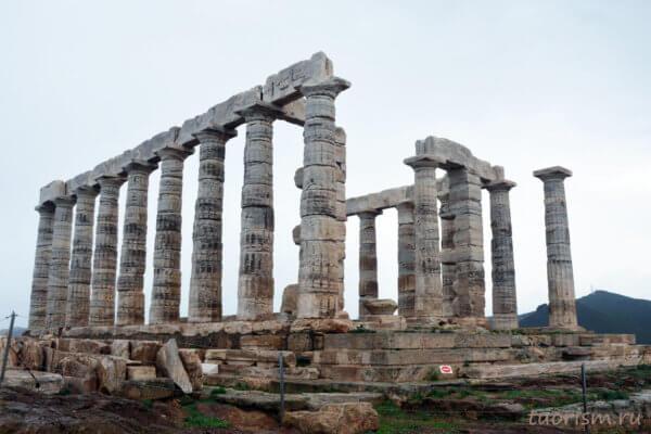 храм Посейдона, Сунион, бог Посейдон, мыс Сунион, вид сбоку, Cape Sounion, Temple of Poseidon