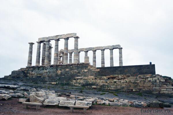 храм Посейдона, с севера, северный фасад, Сунион, греческий храм, храм на мысе, Греция, Temple of Poseidon, Sounio