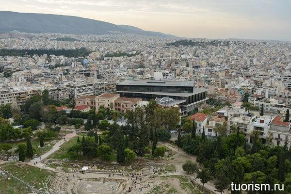 Новый музей Акрополя, музей, Афины, вид, обзор, с холма