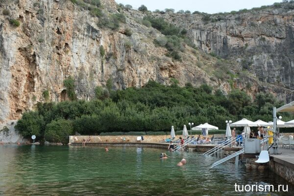 Озеро Вульягмени, термальное озеро, hot springs vouliagmeni