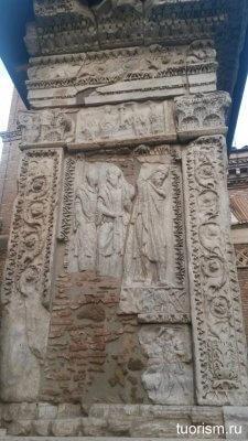 арка аргентариев, рельеф, солдаты, пленник, Рим
