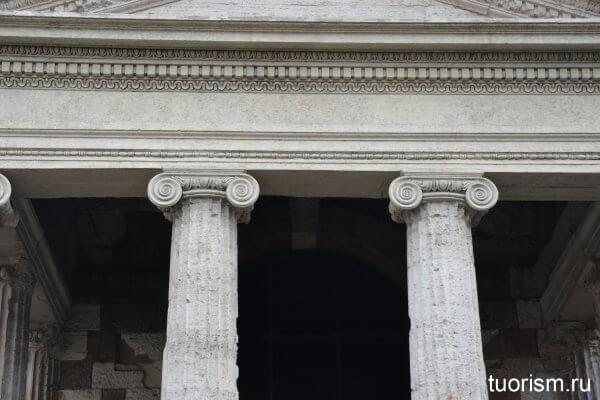 ионические капители, колонны, римский храм, храм Портуна, Рим