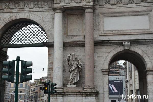 Святой Павел, скульптура, статуя, Рим, ворота Пополо, деталь, нетуристическое