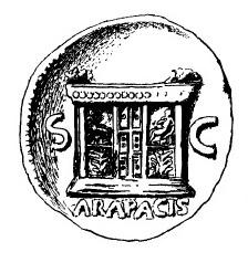 Древнеримская монета, алтарь Мира