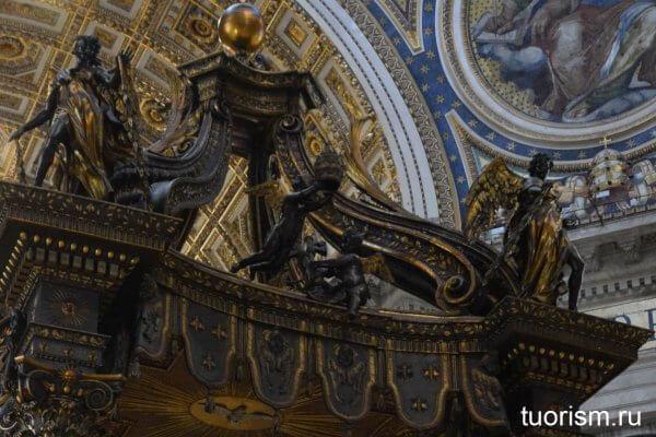 путти, балдахин Петра, собор, Ватикан, детали, Бернини