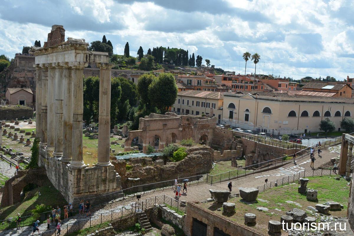 храм Сатурна, древнеримский храм, бог Сатурн, Рим, Римский форум, достопримечательность Рима, что на римском форуме