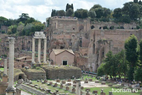 храм Диоскуров, храм Кастора и Поллукса, Римский форум, вид сверху, Roman Forum, Rome, temple of Dioscuri