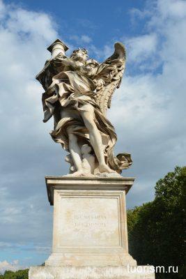 мост ангела, ангел с колонной, angel with a column, rome