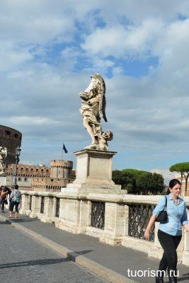 ангел с колонной, мост святого Ангела, Рим, достопримечательность, статуя, Rome, angel with a column