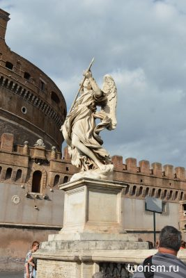 мост святого ангела, Рим, статуя ангела, ангел с копьём, замок, Angel with the Lance, Rome