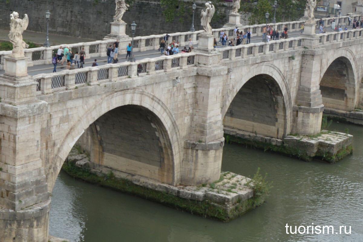 травертин, туф, мост ангела, Рим, строительные материалы, римский мост, загадка, roman bridge