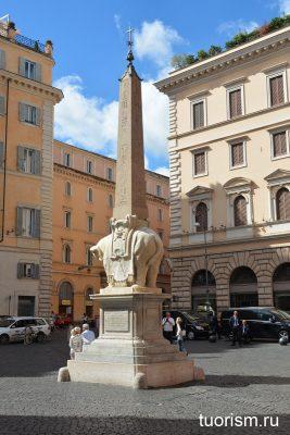 скульптура слона, слон и обелиск, Лоренцо Бернини, слон Бернини, работа Бернини, Рим, что посмотреть, возле Пантеона, sights near Pantheon