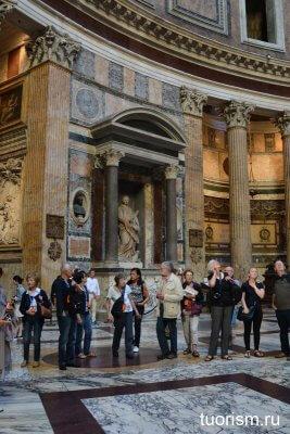 архитектура Пантеона, статуя, туристы, толпы, бусплатная достопримечательность