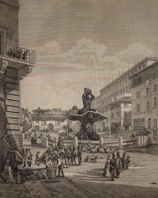 площадь Барберини, Луиджи Россини, фонтан Пчёл, фонтан Тритона