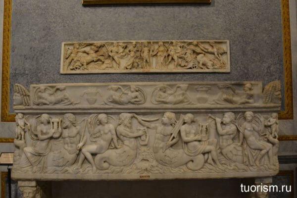 стенка саркофага, римский саркофаг, экспонат, галерея Боргезе, Рим