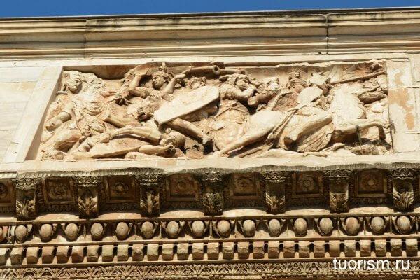 архитектура, арка Константина, деталь, восточная сторона, красивый, архитектурный пояс, римский рельеф