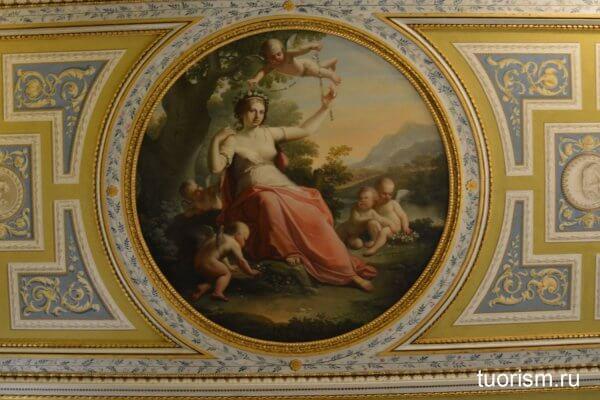 Флора, Доменико де Анджелис, потолок, картина, галерея Боргезе, зал 16, Domenico De Angelis, Flora