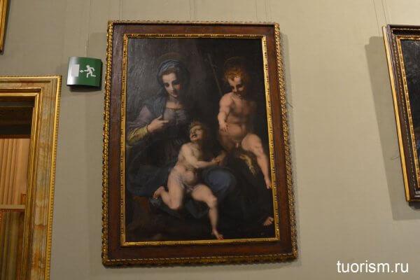 Андреа дель Сарто, картина, Мадонна с младенцем, галерея Боргезе, Andrea del Sarto, Madonna mit Hl. Johannes