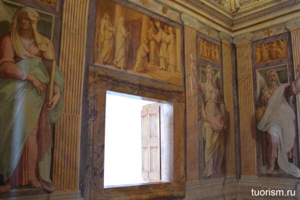 окно, часовня, кардинал д'Эсте, вилла, росписи