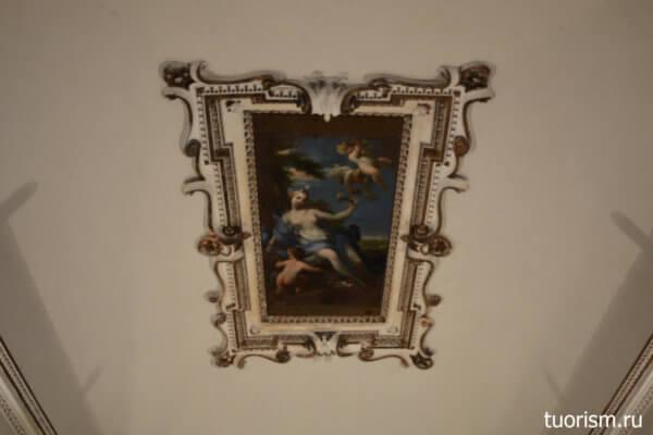 потолок, Венера, рисунок, ангелы, зал Венеры, вилла д'Эсте