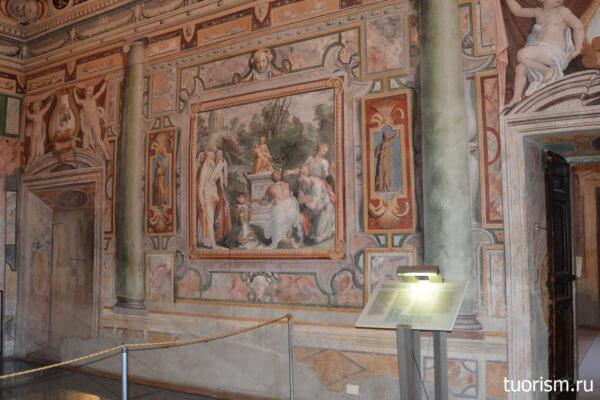 фрески, стена, второй, Тибуртинский зал, вилла д'Эсте, Second Tiburtine Hall, villa d'Este, fresco