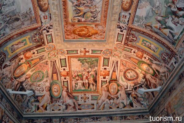 первый, Тибуртинский зал, фреска, вилла д'Эсте, росписи, потолок
