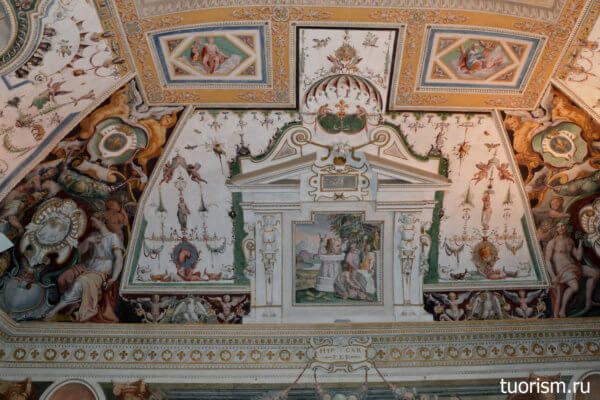 потолок, фрески, зал Фонтана, вилла д'Эсте