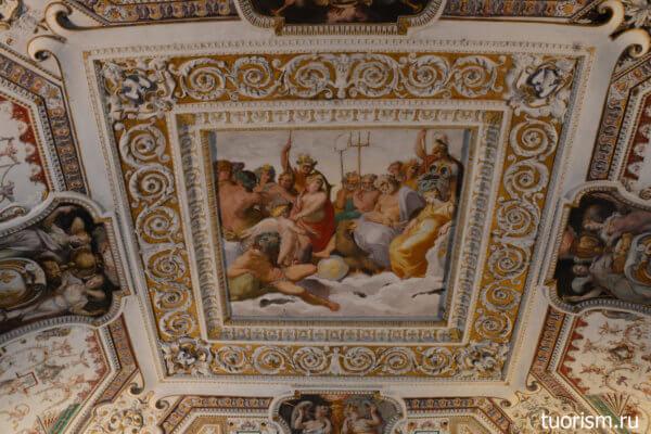 потолок, центральная фреска, зал Геракла, вилла д'Эсте, Геракл на Олимпе