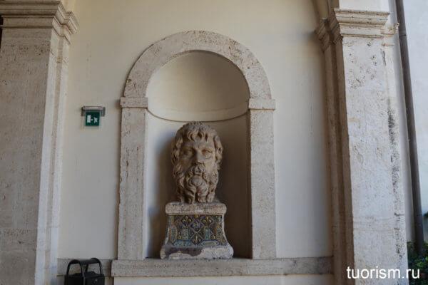 голова, статуя, травертин, античная, вилла д'Эсте, Тиволи