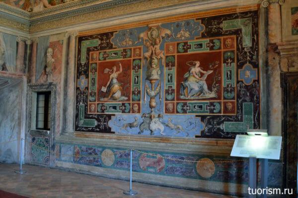 помпейский красный, фрески, стены, зал Благородства, вилла д'Эсте