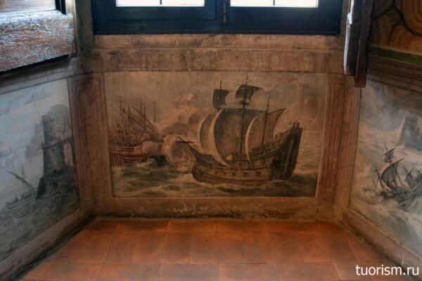 корабль, фреска, под окном, вилла д'Эсте, азл Охотя, морская тематика